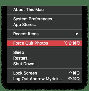 Force Quit Photos App on Mac