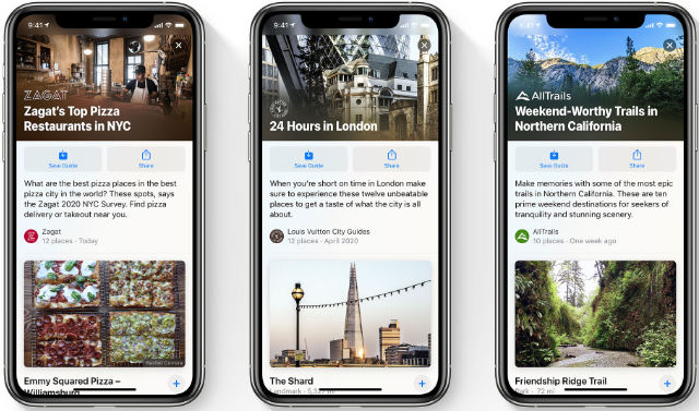 Apple Maps Guides on iOS 14
