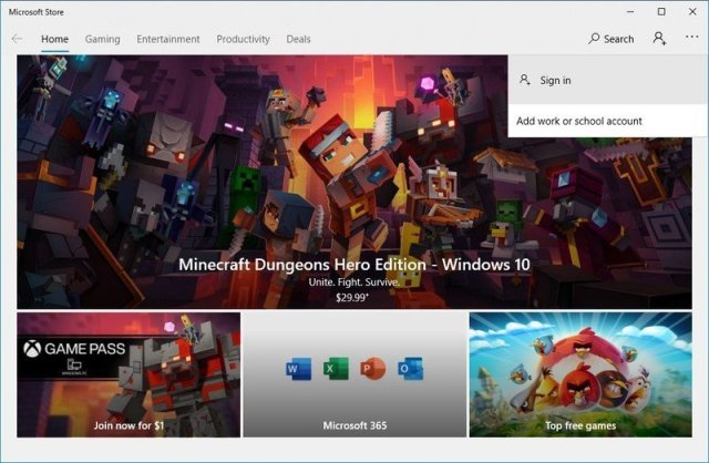 Sign in Microsoft Store option