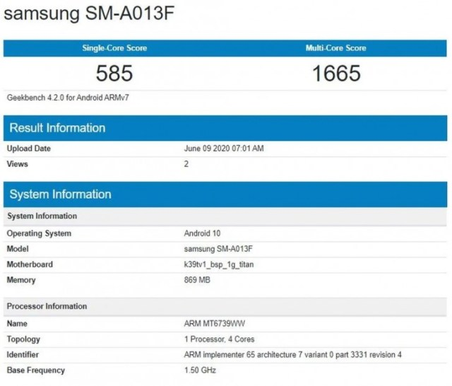 Samsung Galaxy A01 variant with removable battery visits Geekbench