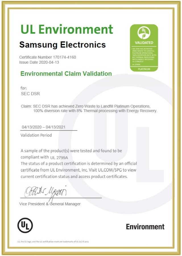 Samsung Semiconductor Zero Waste To Landfill - Waste Management Certification Underwriters Laboratories