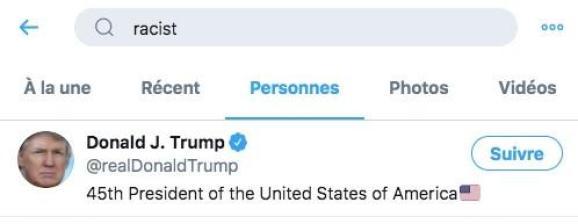 """Le président américain Donald Trump arrive en tête de la recherche du mot-clef \""""racist\"""" sur Twitter."""