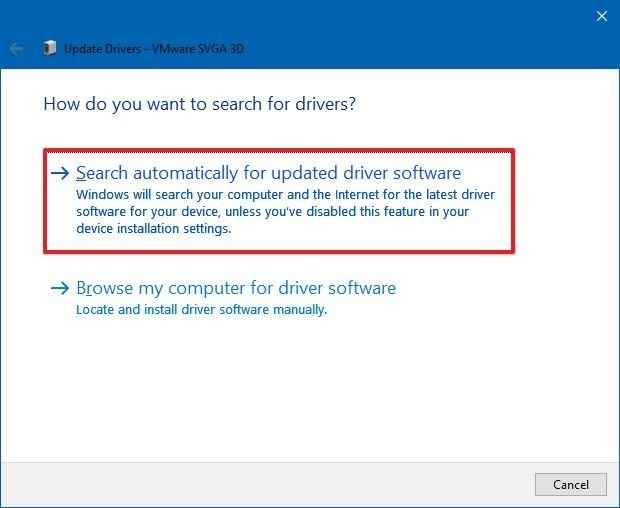 Device Manager search for driver updates