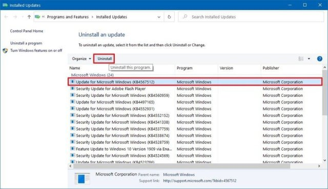 Windows 10 remove update option
