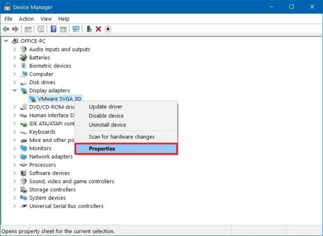 Device Manager device properties option