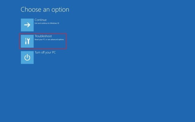 Windows Setup troubleshoot option