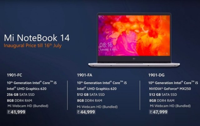 Xiaomi Mi NoteBook 14 and 14 Horizon Edition are official with 10-gen Intel CPUs, Nvidia GPUs and competitive pricing