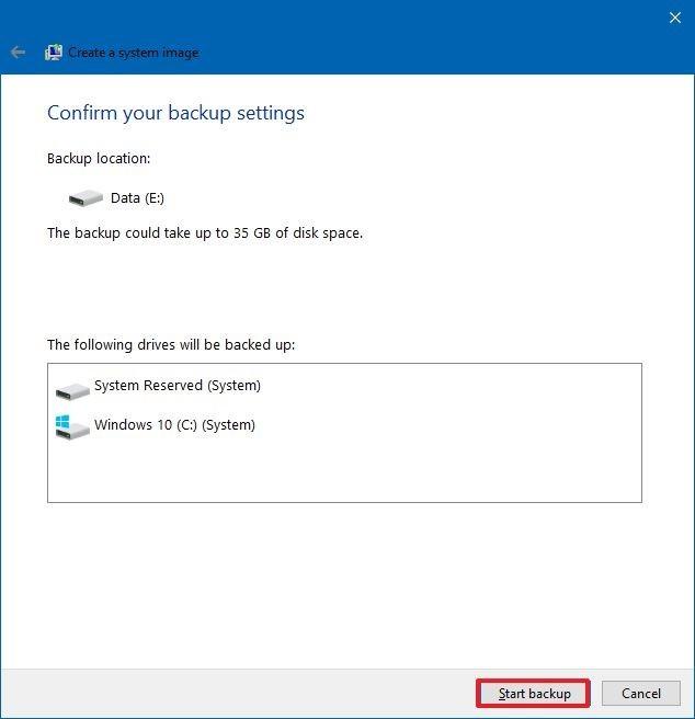 Windows 10 Start Backup