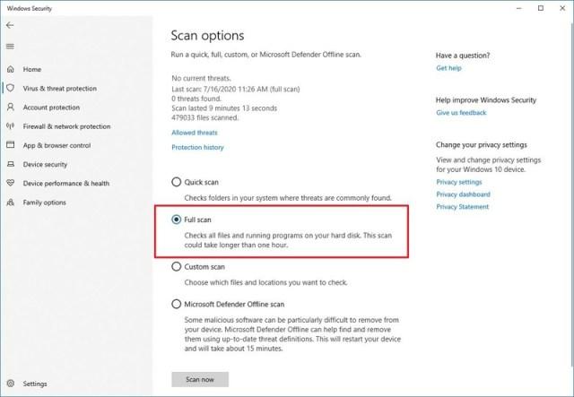 Microsoft Defender Antivirus full scan option