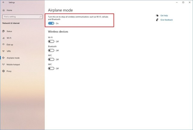 Windows 10 enable Airplane mode save battery school laptop