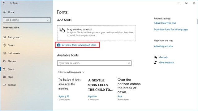 Download fonts from Microsoft Store option