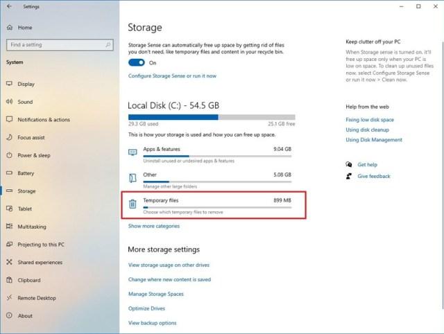 Storage Temporary files option