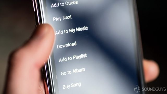 A macro picture of the Amazon Music HD mobile app options menu.
