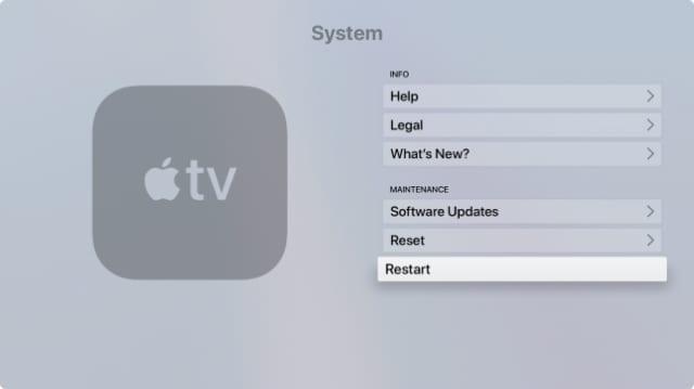 Restart option from System Settings on Apple TV
