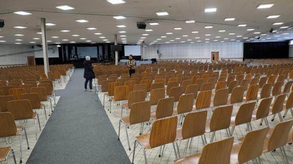 L\'église évangélique de la Porte ouverte chrétienne, à Mulhouse (Haut-Rhin), le 4 mars 2020. C\'est là que s\'est tenu, en février, un rassemblement lors duquel de nombreux fidèlesont contracté le coronavirus.