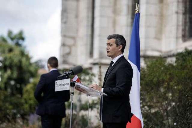Le ministre de l'intérieur, Gérald Darmanin, dimanche 26 juillet àSaint-Etienne-du-Rouvray.