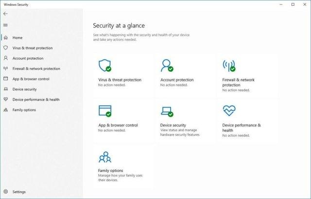 Windows Security home