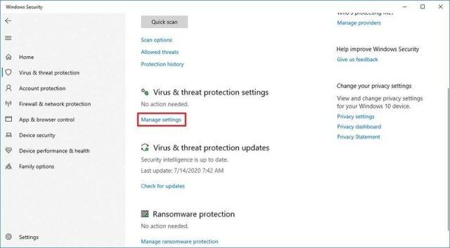 Virus & threat protection settings option