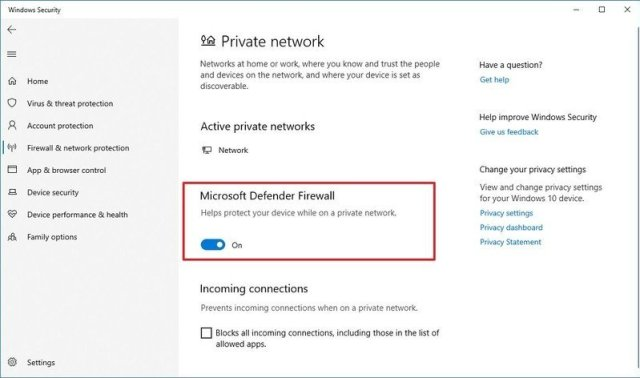 Enable or disable Microsoft Defender Firewall