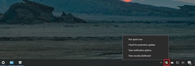 Windows Security icon in the taskbar