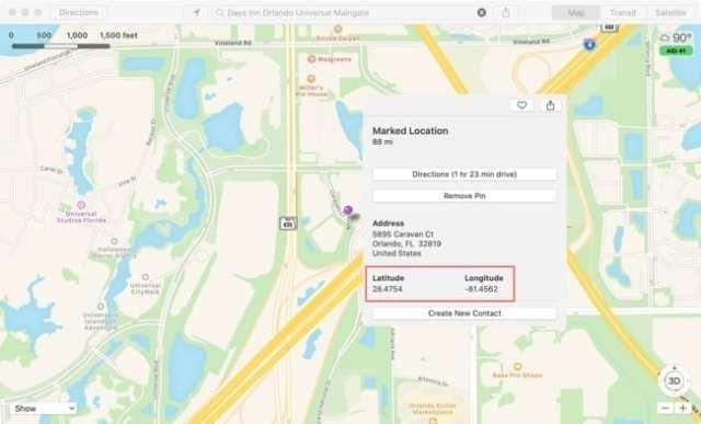 Maps View GPS Coordinates-Mac
