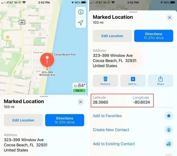 Maps View GPS Coordinates-iPhone