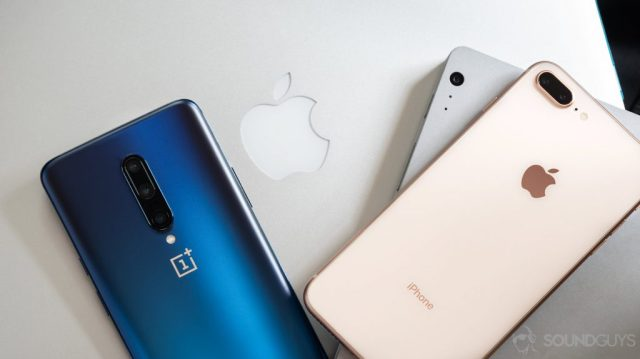 A picture of a OnePlus 7 Pro, iPhone 7 Plus, Macbook Pro, and Surface Book Pro all stacked on top of each other to demonstrate how to use Bluetooth across a range of devices.