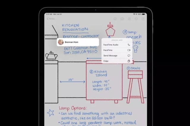 Contact information Scribble iPadOS 14