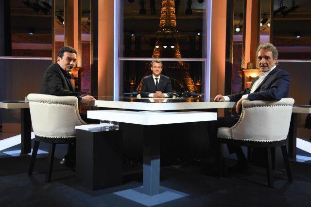 Entretien musclé avec Edwy Plenel et Jean-Jacques Bourdin, le 15 avril 2018, au Théâtre national de Chaillot à Paris./Blondet/ABC/Andia.fr