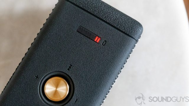 Shot of the battery indicator lights on the top of the Marshall Emberton Bluetooth speaker