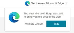 """Publicité Microsoft """"Get the new Microsoft Edge"""""""