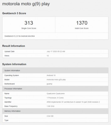 Moto G9 Play's score card from Geekbench 5