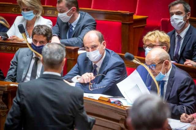 Jean Castex et ses ministres, lors de la séance de questions au gouvernement, à l'Assemblée nationale, le 8 juillet.