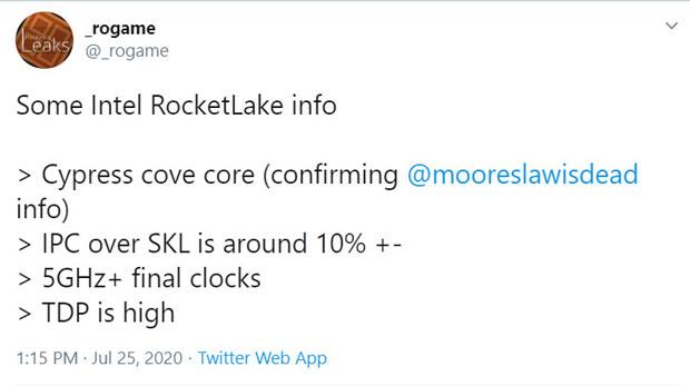 Rocket Lake-S, quelques informations