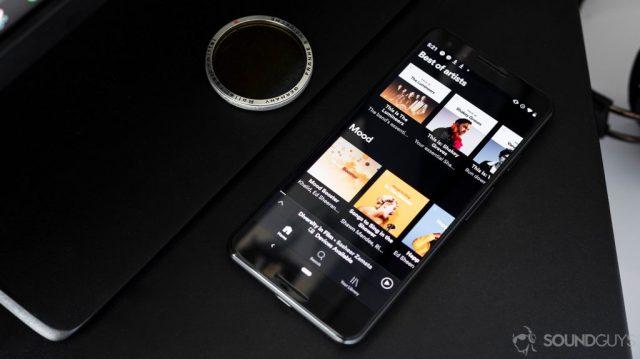 Spotify app open on a Google Pixel 3.