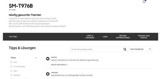 Samsung Galaxy Tab S7+ SM-T976B Support Webpage