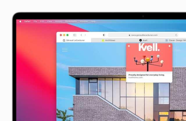 Redesigned Safari macOS Big Sur
