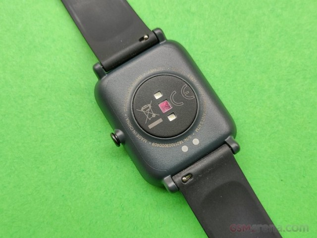 Charging pins and PPG Bio-Tracking Optical Heart Rate Sensor on Amazfit Bip S