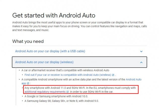 Android Auto FAQ page