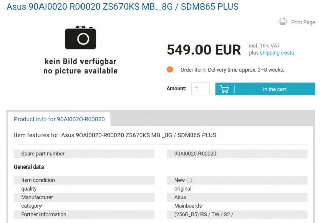 Asus Zenfone 7 Pro listing
