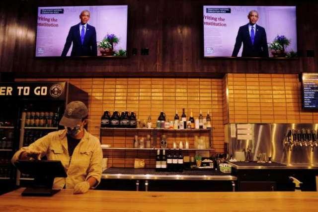 Le discours de Barack Obama diffusé à Milwaukee, mercredi 19 août.