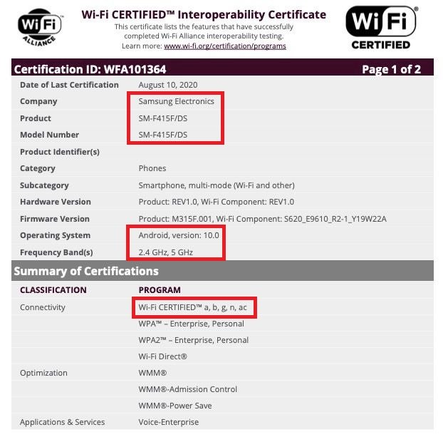 Samsung SM-F415F Foldable Smartphone Wi-Fi Certification