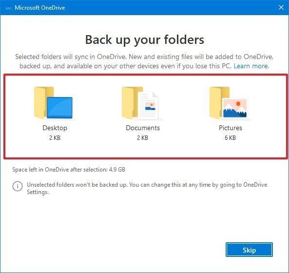 OneDrive backup folders option