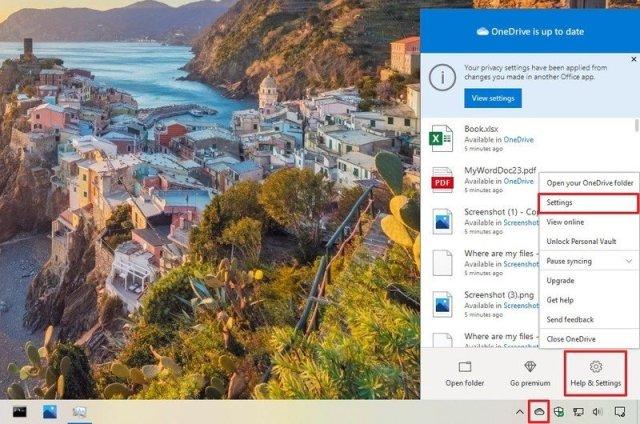 OneDrive menu with Settings option