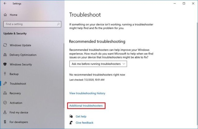 Windows 10 Settings additional troubleshooters