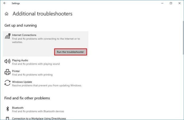 Windows 10 network troubleshooter