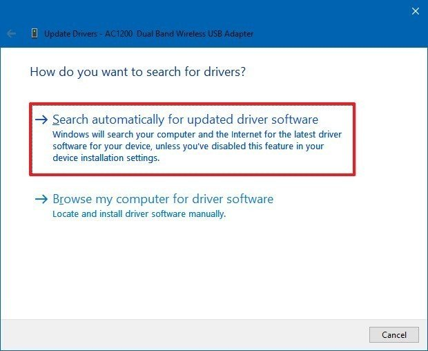 Device Manager download driver from Windows Update option