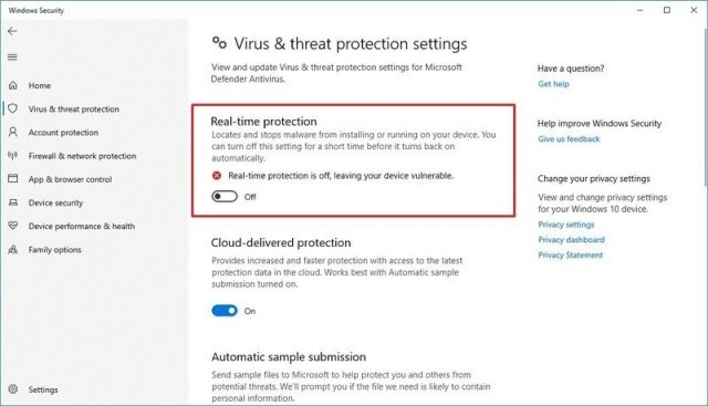 Microsoft Defender Antivirus option