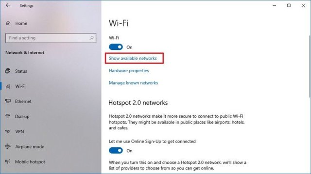 Windows 10 show wireless networks option