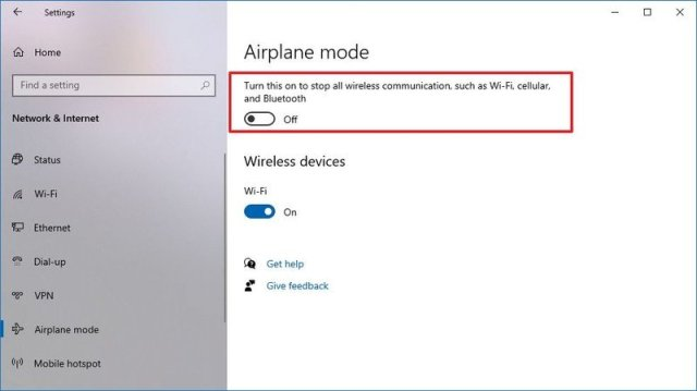 Windows 10 disable Airplane mode option